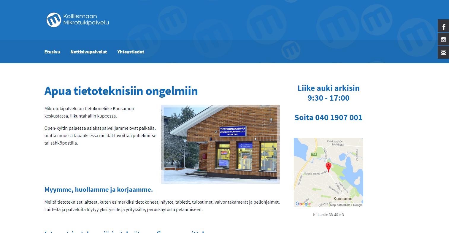 Nettisivut ja verkkokauppa: Koillismaan Mikrotukipalvelu
